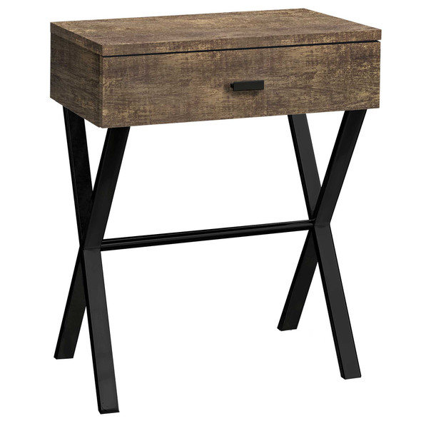 """12"""" x 18.25"""" x 22.25"""" Brown, Black, Particle Board, Metal - Accent Table"""
