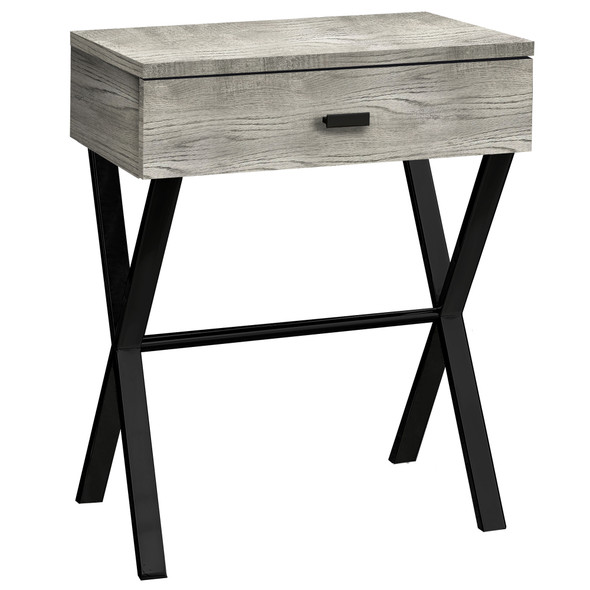 """12"""" x 18.25"""" x 22.25"""" Grey, Black, Particle Board, Metal - Accent Table"""