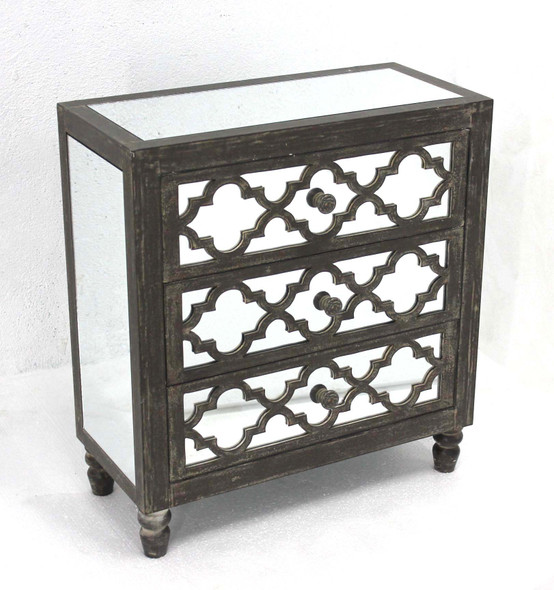 "12"" x 25.5"" x 28"" Gray, 3 Drawer, Antique, Mirrored, Wooden - Cabinet"