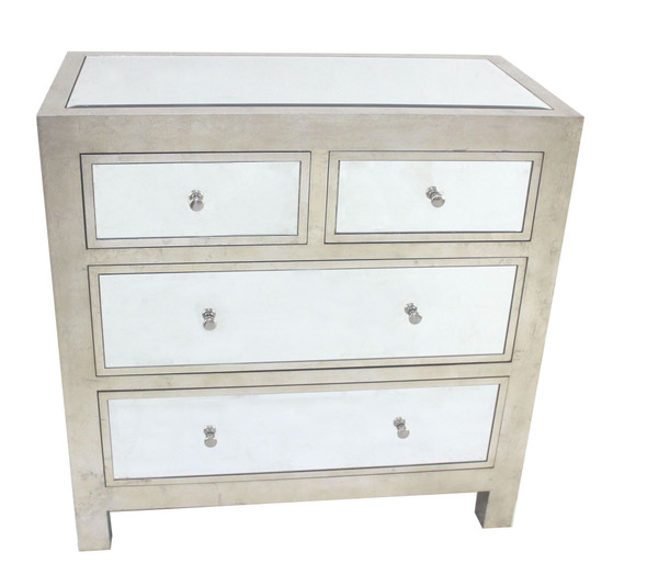 """18"""" x 36"""" x 36"""" Silver, 4 Drawer, Mirrored, Wood - Cabinet"""