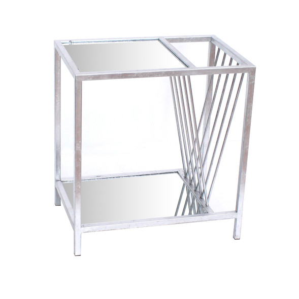 """15"""" x 23"""" x 24"""" Silver, Metal- End Table"""