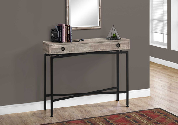 """32.5"""" Taupe Reclaimed Wood Particle Board Accent Table with Black Legs"""