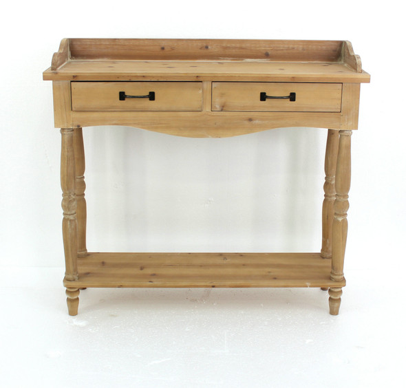 """11.75"""" x 42"""" x 38.5"""" Natural, 2 Drawer, Rustic, Unfinished Dressing - End Table"""