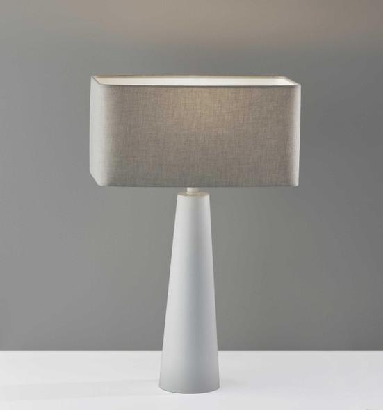 "16"" X 8"" X 25.5"" White Metal Table Lamp"