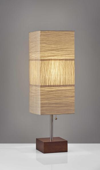 """8"""" X 8"""" X 26"""" Natural Wood/Metal Table Lamp"""