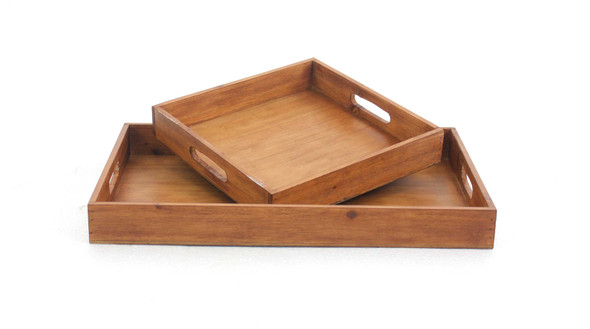 "14.5"" x 22.5"" x 2.5"" Brown, Country Cottage, Wooden - Serving Tray 2pc"