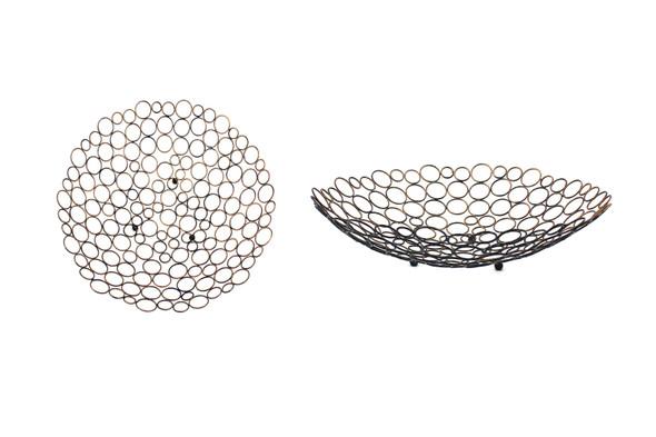 "18.5"" x 18.5"" x 4.5"" Bronze, Decorative, Metal - Tray"