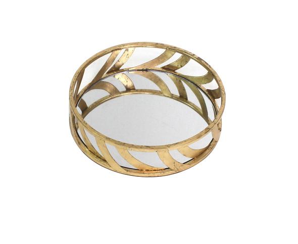 """14"""" x 14"""" x 4"""" Gold, Streamline, Mirror - Tray"""