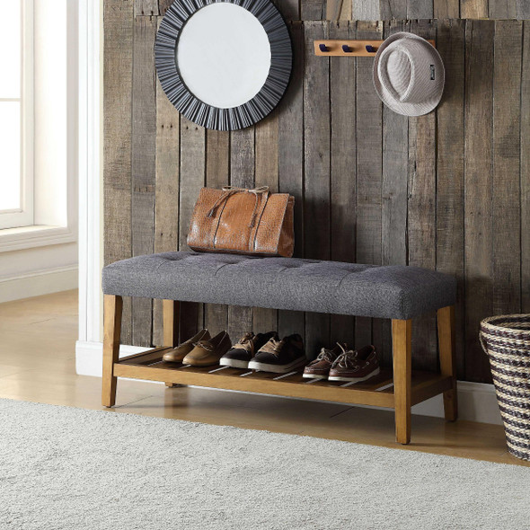"""40"""" X 16"""" X 18"""" Gray And Oak Simple Bench"""