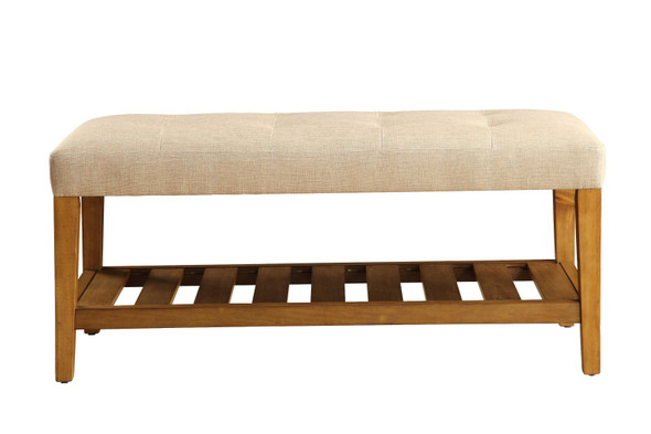"""40"""" X 16"""" X 18"""" Beige And Oak Simple Bench"""