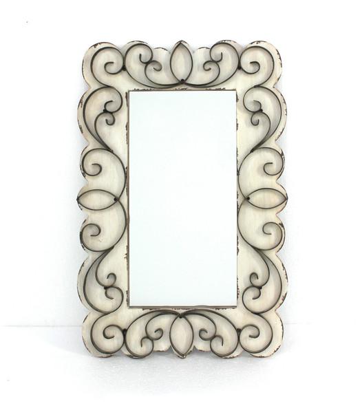 "32.75"" x 21.75"" x 1.25"" White, Vintage Decorative, Wood amp; Metal - Wall Mirror"