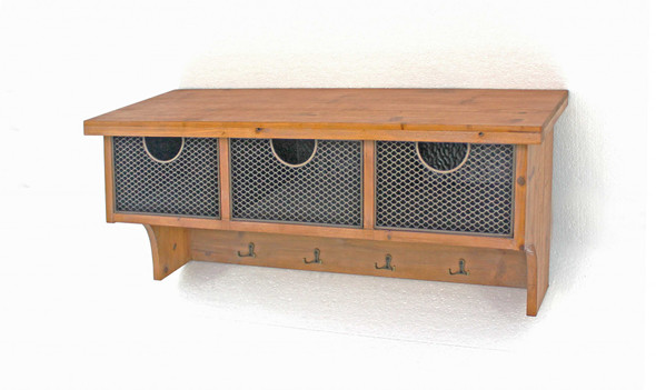 "11"" x 33"" x 14.5"" Brown, Rustic Wooden, 3 Drawers - Wall Shelf"