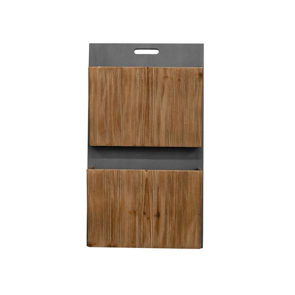 """4"""" x 15"""" x 26"""" Gray, Wood, Wall Storage/Wood Wall 2-tier Magazine Rack"""