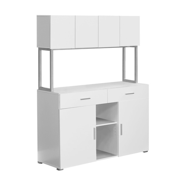 "16.25"" x 47.25"" x 60"" White, Silver, Particle Board, Hollow-Core, Metal - Office Cabinet"