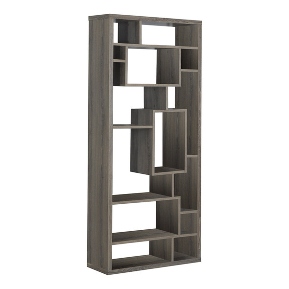 "11.75"" x 31.5"" x 72"" Dark Taupe, Particle Board, Hollow-Core - Bookcase"