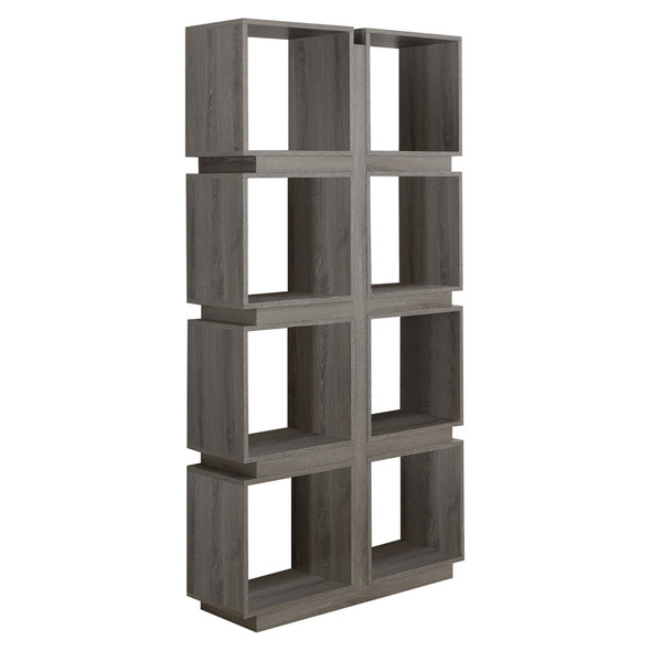 "12"" x 33.5"" x 71.25"" Dark Taupe, Particle Board, Hollow-Core - Bookcase With A Hollow Core"
