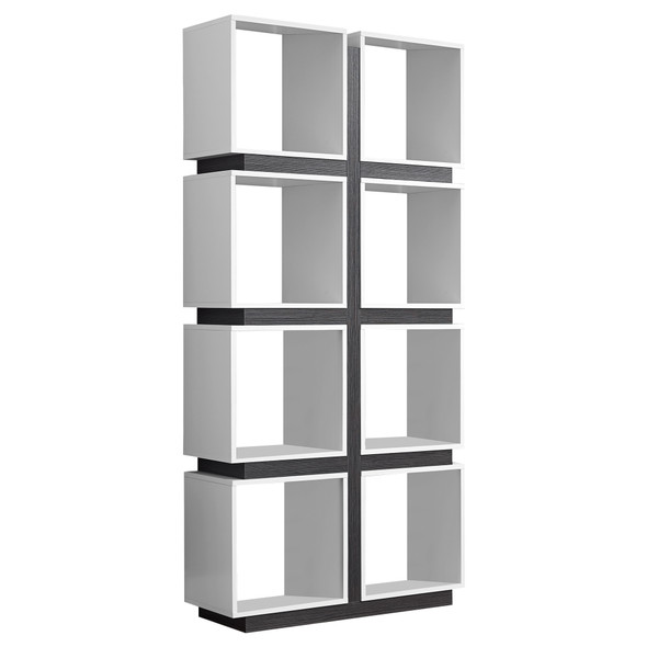 "12"" x 33.5"" x 71.25"" White, Grey, Particle Board, Hollow-Core - Bookcase With A Hollow Core"