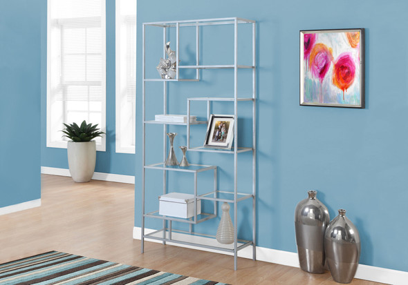"72"" Metal and Tempered Glass Bookcase"