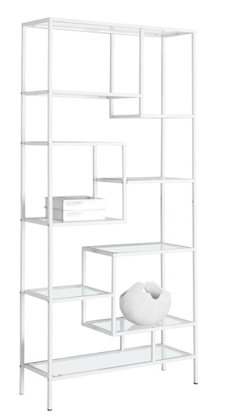 "12"" x 32"" x 72"" White, Clear, Tempered Glass, Metal - Bookcase"
