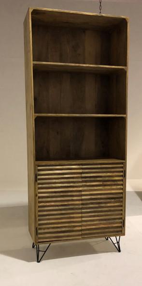 "17"" X 33"" X 82"" Natural Iron Wood Bookshelf"