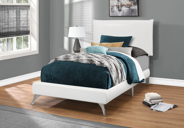 """47.25"""" White Solid Wood, MDF, Foam, and Linen Twin Sized Bed with Chrome Legs"""
