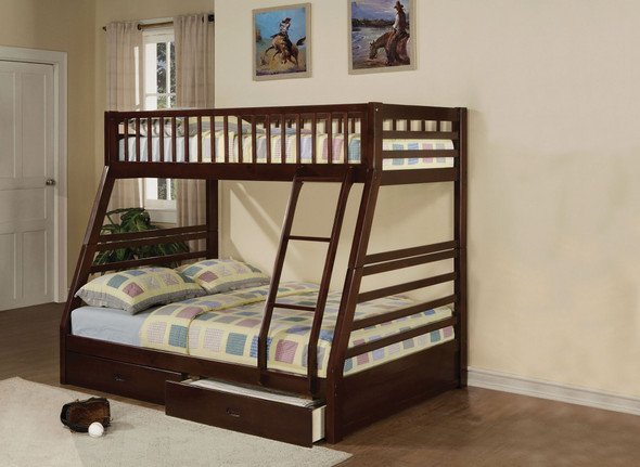 """79"""" X 56"""" X 65"""" Epresso Pine Wood Twin Over Full Bunk Bed"""