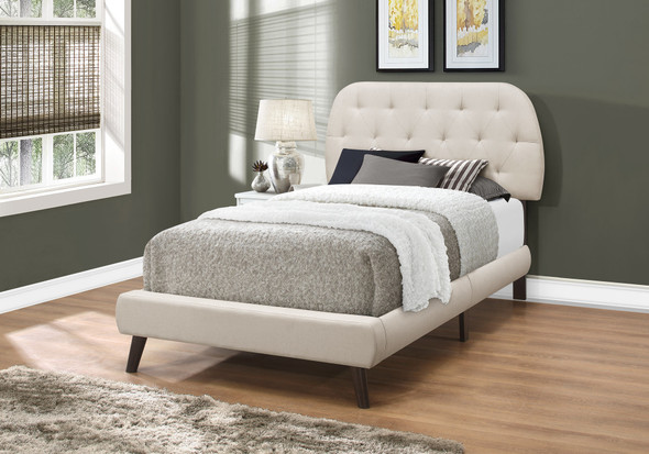 """45.25"""" Beige Solid Wood, MDF, Foam, and Linen Twin Sized Bed with Wood Legs"""