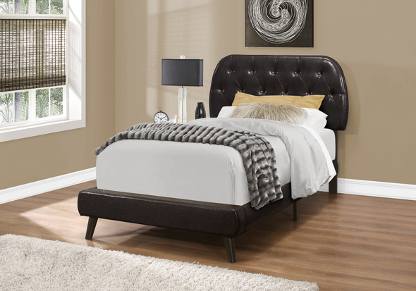 """45.25"""" Brown Solid Wood, MDF, Foam, and Linen Twin Sized Bed with Wood Legs"""