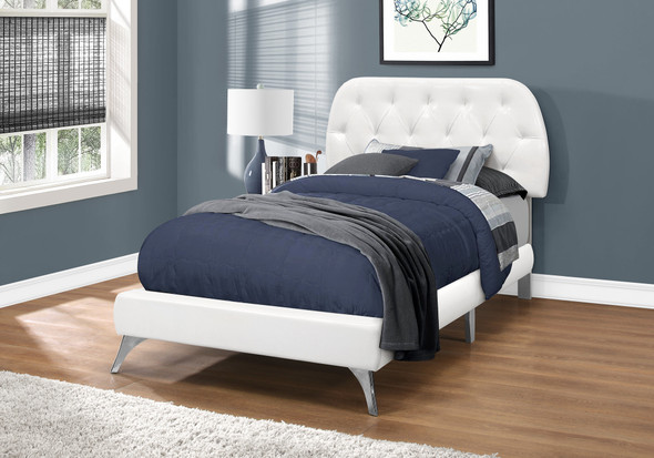 """45.25"""" White Solid Wood, MDF, Foam, and Linen Twin Sized Bed with Chrome Legs"""