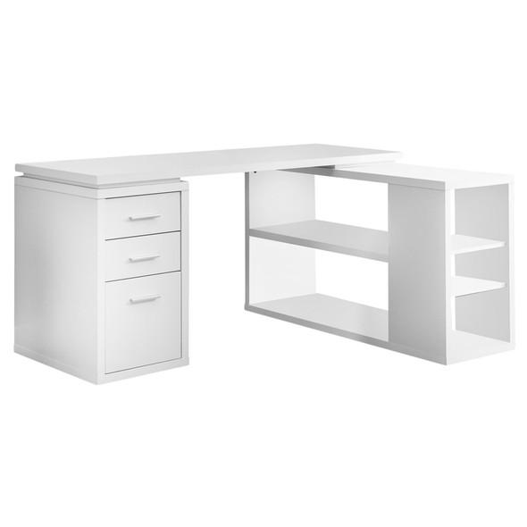 "47.25"" x 60"" x 29"" White, Particle Board, Hollow-Core - Computer Desk"