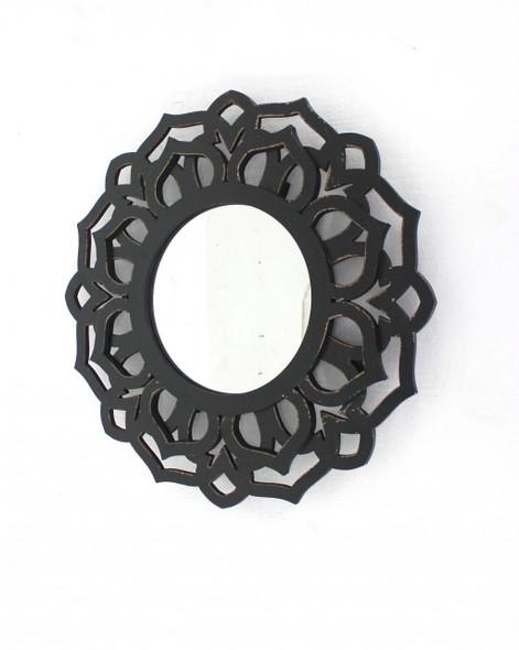 """23.75"""" x 23.75"""" Black, Traditional, Lotus - Wall Mirror"""