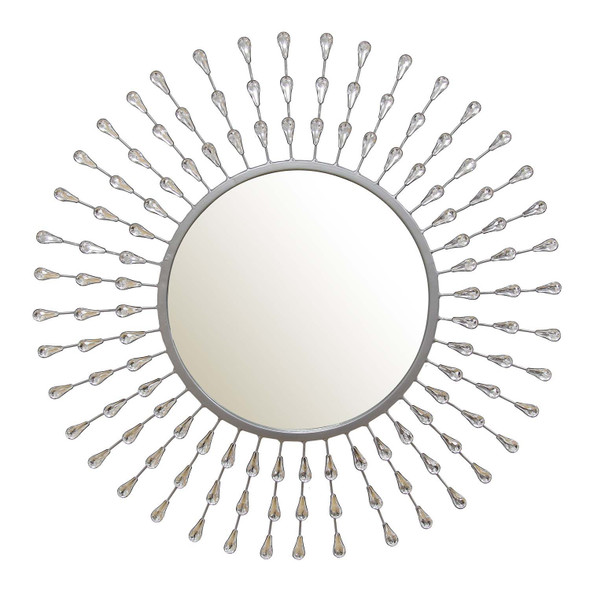 "28.8"" X 2"" X 28.8"" Silver Metal Acrylic Glass Tear Drop Mirror"