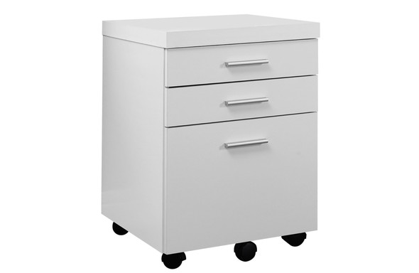 """17.75"""" x 18.25"""" x 25.25"""" White, Black, Particle Board, 3 Drawers - Filing Cabinet"""