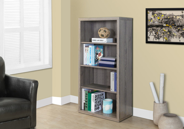 """47.5"""" Dark Taupe Particle Board and MDF Bookshelf with Adjustable Shelves"""