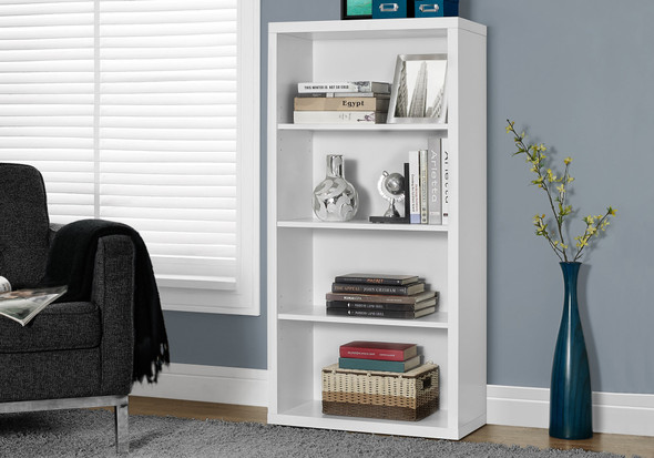 """47.5"""" White Particle Board and MDF Bookshelf with Adjustable Shelves"""
