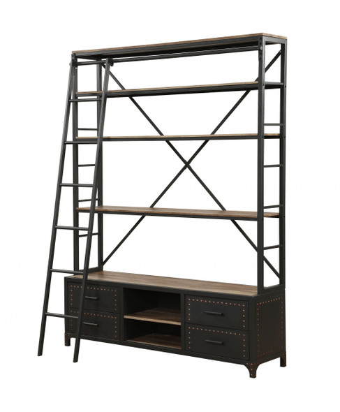 """64"""" X 29"""" X 83"""" Sandy Gray Metal Tube Bookcase With Ladder"""