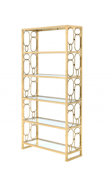 """36"""" X 19"""" X 77"""" Clear Glass And Gold Bookcase"""