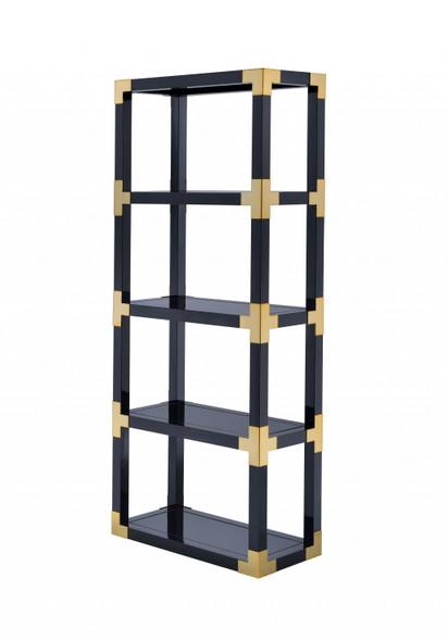 "32"" X 15"" X 77"" Gold, Black High Gloss And Black Mirror Bookcase"