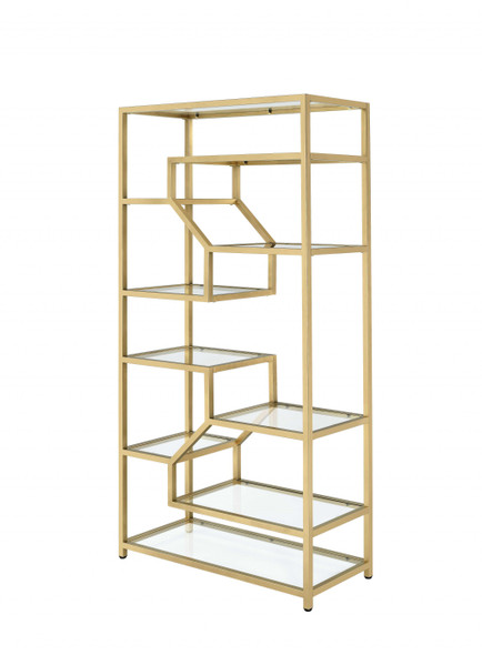 """38"""" X 16"""" X 71"""" Clear Glass And Gold Bookcase"""