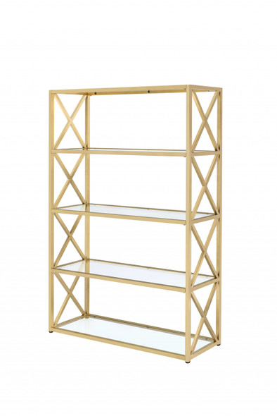 """48"""" X 14"""" X 77"""" Clear Glass And Gold Bookcase"""