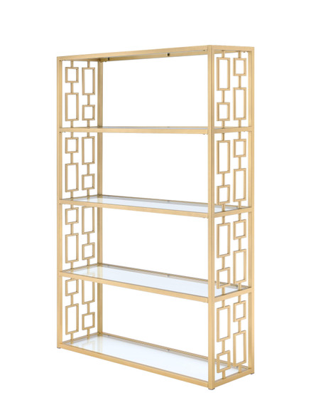 """48"""" X 14"""" X 72"""" Clear Glass And Gold Bookcase"""