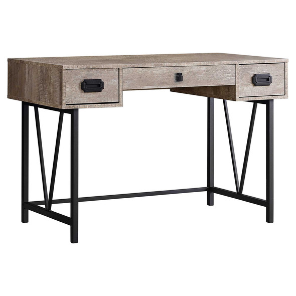 """23.75"""" x 47.25"""" x 30.75"""" Taupe, Black, Particle Board, Hollow-Core, Metal - Computer Desk"""