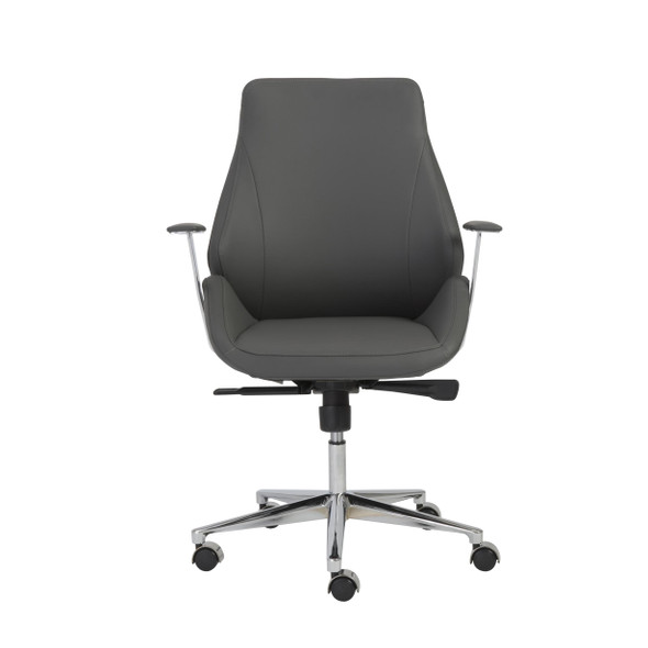 """26.75"""" X 26"""" X 40.75"""" Low Back Office Chair in Gray with Chromed Steel Base"""