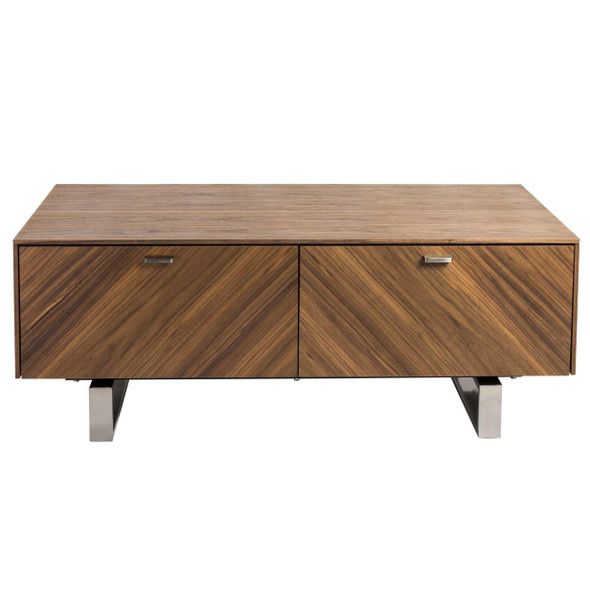 """47.25"""" X 23.63 X 17.72"""" Coffee Table in American Walnut with Brushed Stainless Steel Base"""