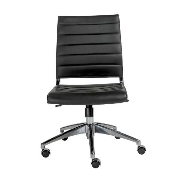"""22.84"""" X 24.61"""" X 38.98"""" Armless Low Back Office Chair in Black with Aluminum Base"""