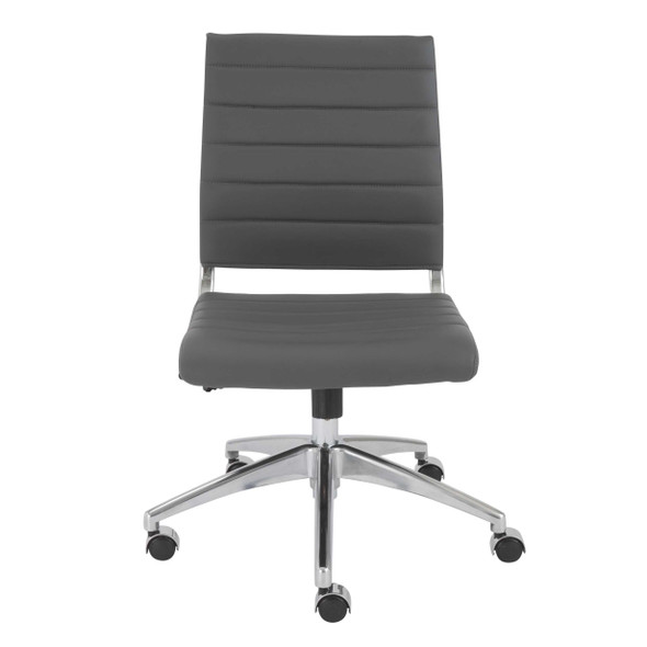 """22.84"""" X 24.61"""" X 38.98"""" Armless Low Back Office Chair in Gray with Aluminum Base"""