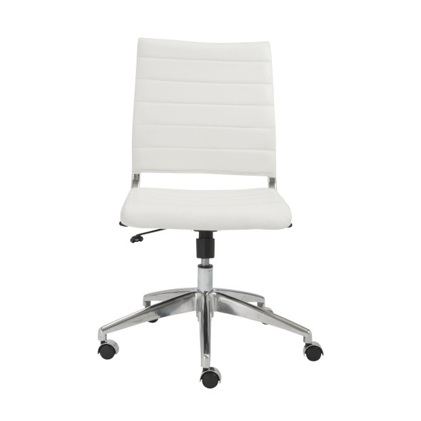 """22.84"""" X 24.61"""" X 38.98"""" Armless Low Back Office Chair in White with Aluminum Base"""