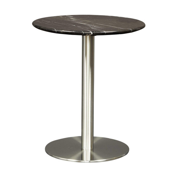 """17.72"""" X 17.72"""" X 20.08"""" Round Side Table in Black Marble with Brushed Stainless Steel Base"""