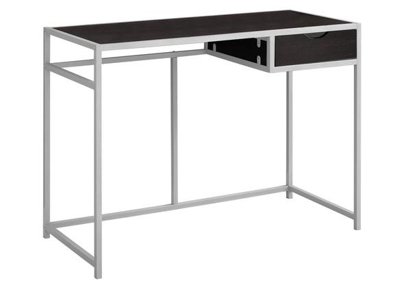 "20"" x 42.25"" x 30"" Cappuccino, Silver, Mdf, Metal - Computer Desk"