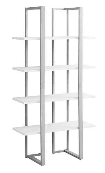 "13.25"" x 32"" x 60"" White, Silver, Mdf, Metal - Bookshelf"